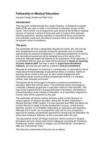Fellowship in Medical Education - Faculty Development - London ...