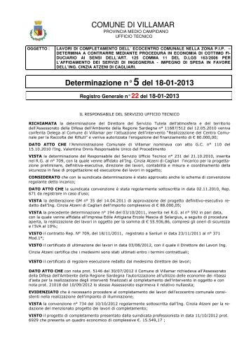 COMUNE DI VILLAMAR Determinazione n° 5 del 18-01-2013
