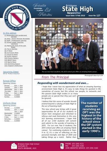 BSHS 2008 Newsletter - Brisbane State High School