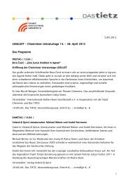 LESELUST - Chemnitzer Literaturtage 13. - 28. April 2012 Das ...