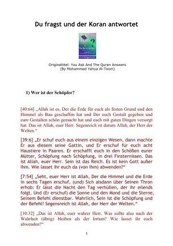 Du fragst und der Koran antwortet - Way to Allah