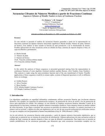PROPIEDADES DE SECUENCIAS GENERADAS A ... - E-journal