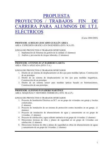 propuesta proyectos / trabajos fin de carrera para alumnos de iti