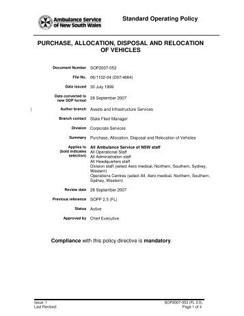 Purchase, allocation, disposal, and relocation of vehicles ...