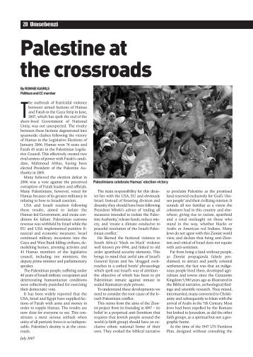 Palestine at the crossroads - South African Communist Party