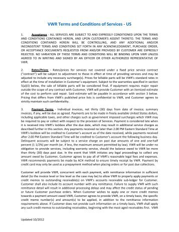 VWR Terms and Conditions of Services - US - Sargent Welch