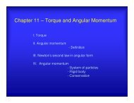 Chapter 11 – Torque and Angular Momentum - UCF Physics