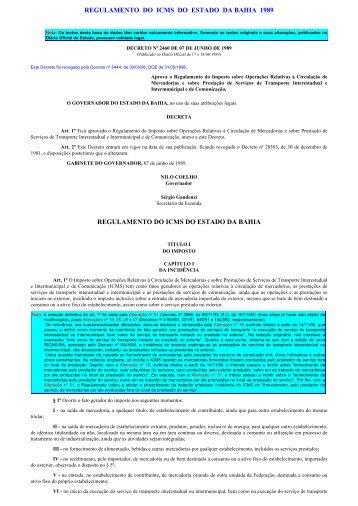 Imprimindo - Regulamento do ICMS 1989 - Secretaria da Fazenda ...