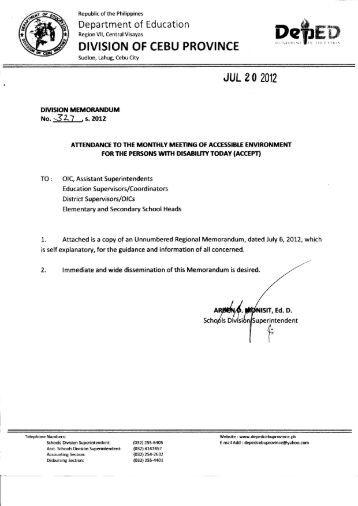 Memo No. 327, S. 2012 - DepEd Cebu Province