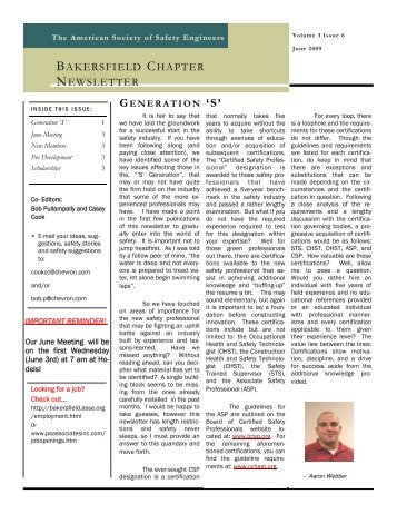 June 2009 ASSE Newsletter - Bakersfield Chapter of the American ...
