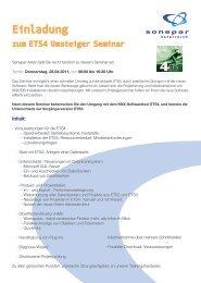 Einladung zum ETS4 Umsteiger Seminar - SONEPAR ÖSTERREICH