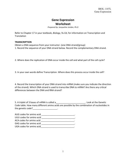 The Genetic Code Worksheet