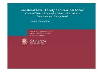 Afferenza GIACOMANTONIO - Dipartimento di Psicologia dei ...