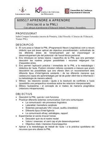609517 APRENDRE A APRENDRE (Iniciació a la PNL)