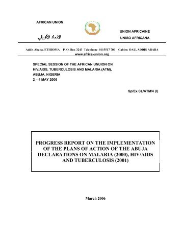 PROGRESS REPORT ON THE IMPLEMENTATION ... - African Union
