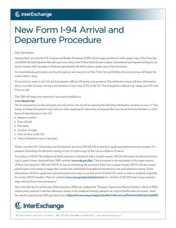 Instructions For Lost I 94 Card