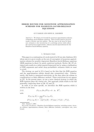 ERROR BOUNDS FOR MONOTONE APPROXIMATION ... - LMPT