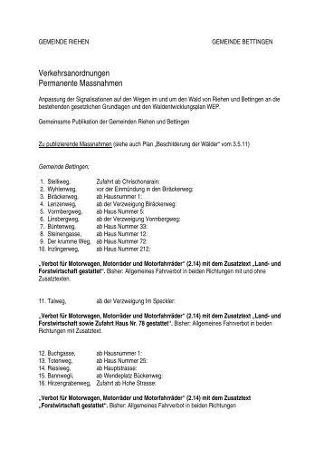 Verkehrsanordnungen Gemeinden Riehen und Bettingen