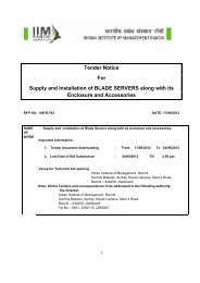 Tender Notice For Supply and Installation of BLADE ... - IIM Ranchi