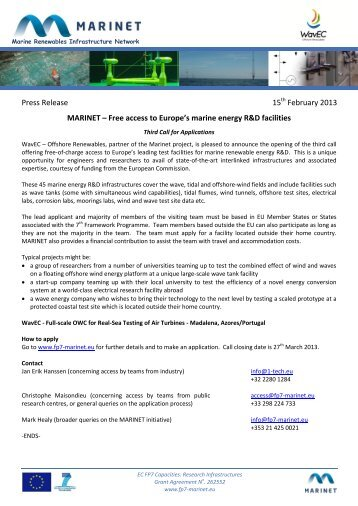 Press Release 15 February 2013 MARINET – Free access ... - WavEC