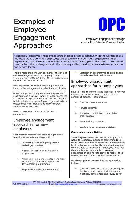 Examples of Employee Engagement Approaches - smallB