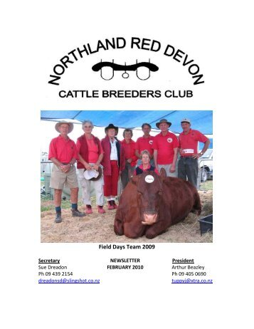 FEBRUARY 2010 News Letter - New Zealand Red Devon Cattle ...