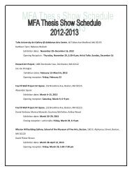 MFA Thesis Exhibition Schedule - School of the Museum of Fine Arts