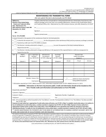 maintenance fee transmittal form - United States Patent and ...