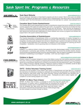 Sask Sport Inc. Programs & Resources