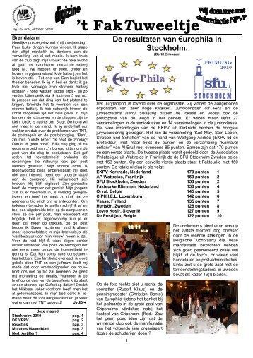 jrg. 35 nr. 9 okt. 2010 - Eerste Kerkraadse Philatelisten Vereniging