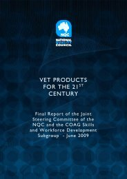 VET Products for the 21st Century - National Skills Standards Council