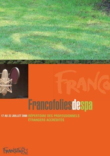 Invités Spa 2008 - Wallonie-Bruxelles Musiques