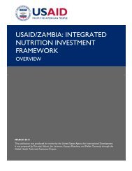 USAID/Zambia: Integrated Nutrition Investment Framework--Overview