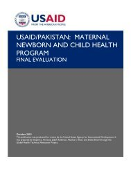 USAID/PAKISTAN: MATERNAL NEWBORN AND CHILD HEALTH ...
