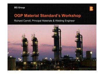 OGP Material Standard's Workshop - OGP activities home