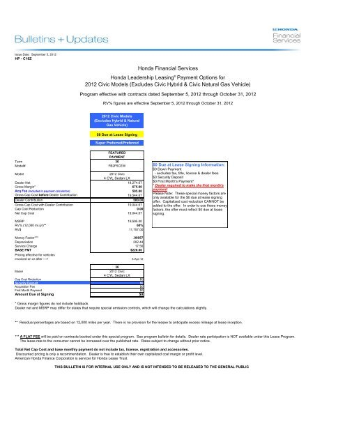 Honda Financial Services Payment >> Honda Leadership Leasing And Leadership Purchase Plan