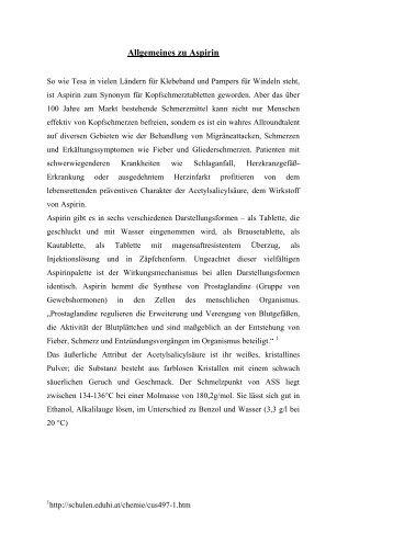 Allgemeines zu Aspirin - Chemiestudent.de