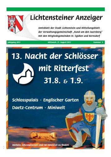 13. Nacht der Schlösser mit Ritterfest 31.8. & 1.9. - Stadtverwaltung ...