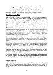 Proposition de sujet de thèse CIFRE, Nouvelle-Calédonie - ANRT