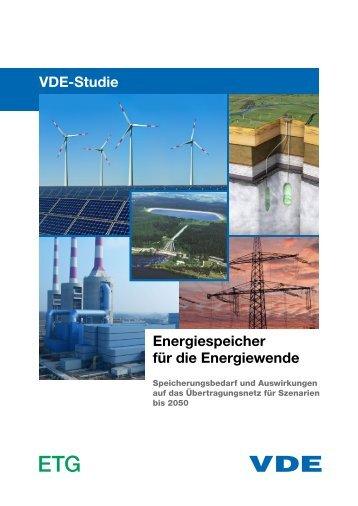 VDE-Studie Energiespeicher für die Energiewende