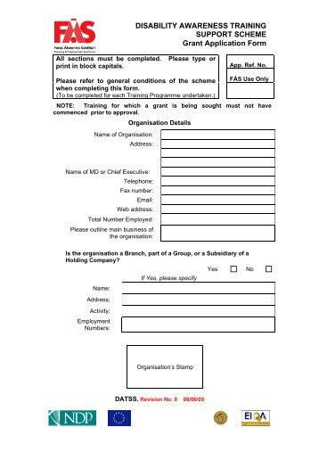 Annex A - Application Form For Caregivers Training Grant - Minds