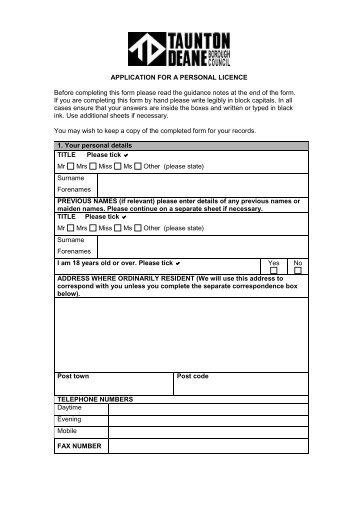 Personal Licence Application - Taunton Deane Borough Council