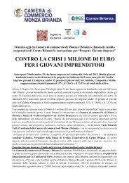 contro la crisi 1 milione di euro per i giovani imprenditori - Camera di ...
