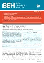 Bulletin épidémiologique hebdomadaire - InVS