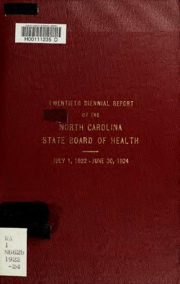 Biennial report of the North Carolina State Board of Health [serial]