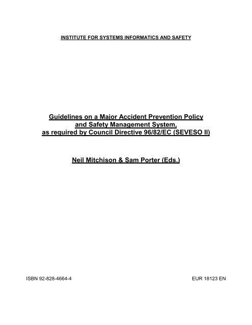 Guidelines on a Major Accident Prevention Policy and Safety ... - IPSC