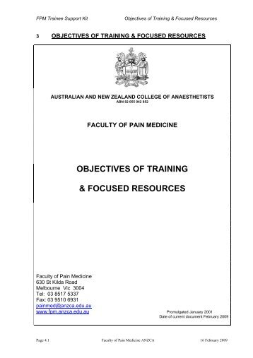 Objectives of Training - Faculty of pain medicine - Australian and ...