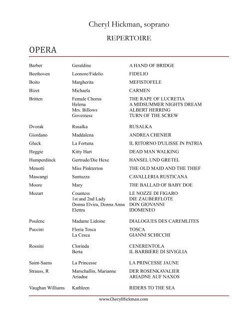 Click to Download in PDF - Cheryl Hickman, soprano