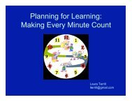 Planning for Learning: Making Every Minute Count