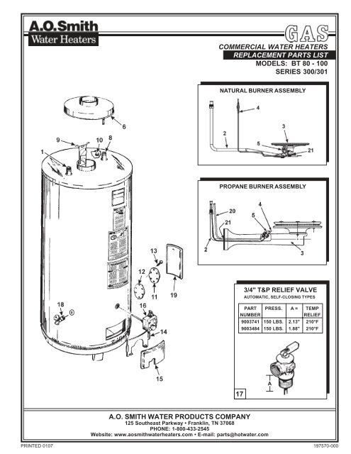 Bt 80 100 A O Smith Water Heaters